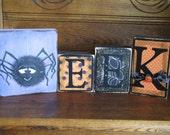 Eek  Spider  Halloween Decor Word Blocks Sign