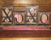 Valentines Day Decor - Valentine Blocks  - Valentines Day Sign - XOXO-Love You A Bushel and A Peck and Hug Around The Neck   Love Sign