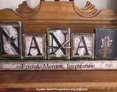 Grandma Gift, Mothers Day Gift, Nana - Friend, Mentor, Inspiration-Custom Grandma Sign Word Blocks