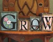 Spring Decor - Grow Spring Sign Word Blocks