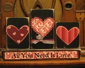 Valentines Day Decor - Valentine Blocks - All You Need Is Love Valentine's and Wedding Sign