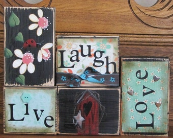 Spring sign, Summer Sign, Live, Laugh, Love Sign  Word Blocks with Flowers and Ladybug