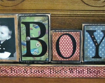 Customized Boys Name Sign Blocks