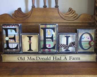 Baby Gift, Baby Sign, Old MacDonald Had a Farm - E-I-E-I-O children and farm sign word blocks