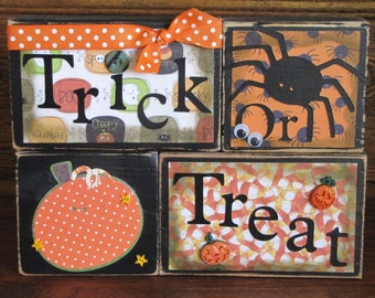 Trick or Treat Word Blocks