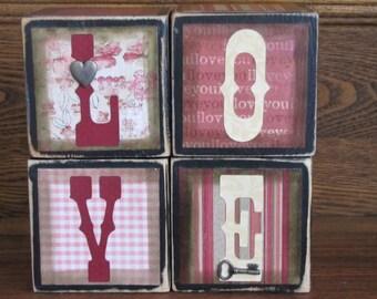 Love Sign Cubes Wedding and Valentine Word Blocks