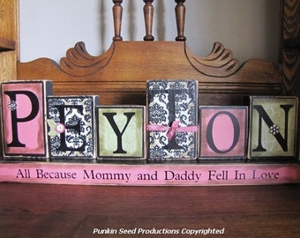 Girl's Personalized and Customized Name Word Blocks Great for Baby Shower Gifts girls name sign personalized
