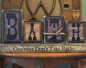 Cowboys Don't Take Baths - Bath Word Blocks