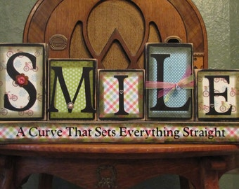 Inspirational Sign, Encouragement Gift, Smile - A Curve That Sets Everything Straight