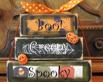 Boo Spooky Creepy Word Stacker Halloween Sign Decor