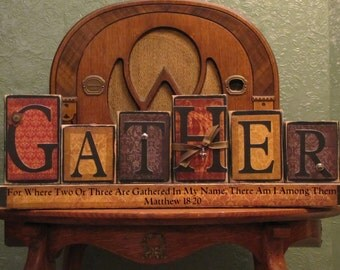 Fall Decor, Thanksgiving Decor, Customized Gather Family Sign Word Blocks Religious and Thanksgiving Decor