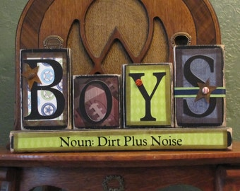 Boys Sign - Noun Dirt Plus Noise Word Blocks