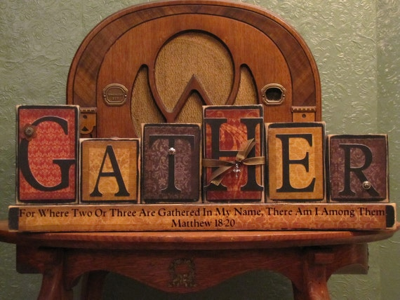 Fall Decor, Thanksgiving Decor, Customized Gather Family Sign Word Blocks Religious and Thanksgiving Decor