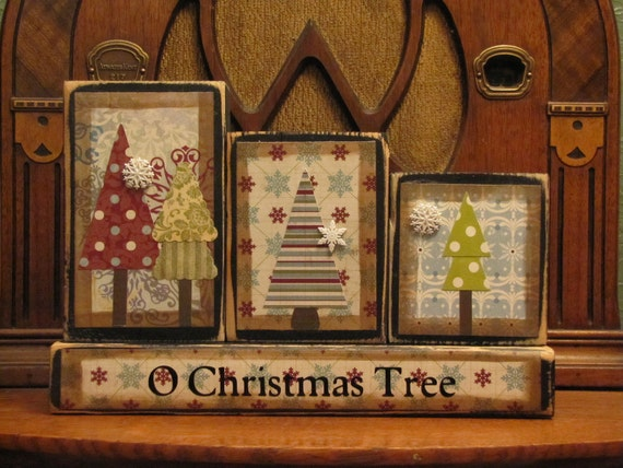 O Christmans Tree Winter Sign Word Blocks