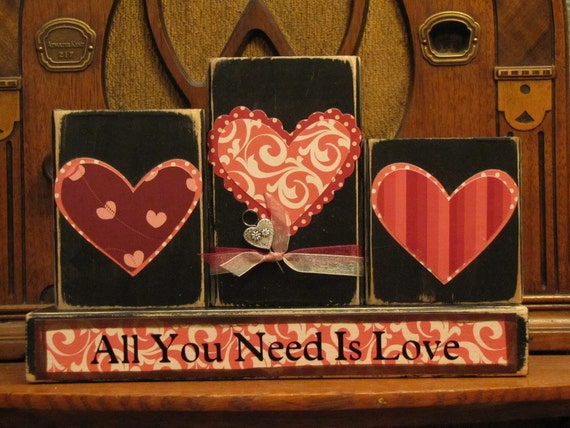 Valentines Day Decor. Valentine Blocks, Valentines Day Sign, Valentines Day Word Art, All You Need Is Love Valentine's and Wedding Sign