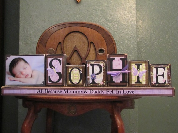 Special Order for Heather - Girl's Customized Name Word Blocks with PIcture Great for Baby Shower Gifts girls name sign personalized