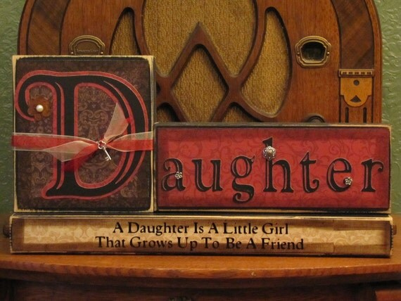 Daughter Sign Blocks, daughter gift, mothers day gift, daughter friend gift