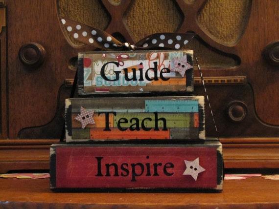 """Teacher Gift -  Guide, Teach, Inspire Word Blocks  Teacher Sign Teacher Appreciation End of Year Gift, Measures 4.5"""" tall x 5.5"""" wide"""