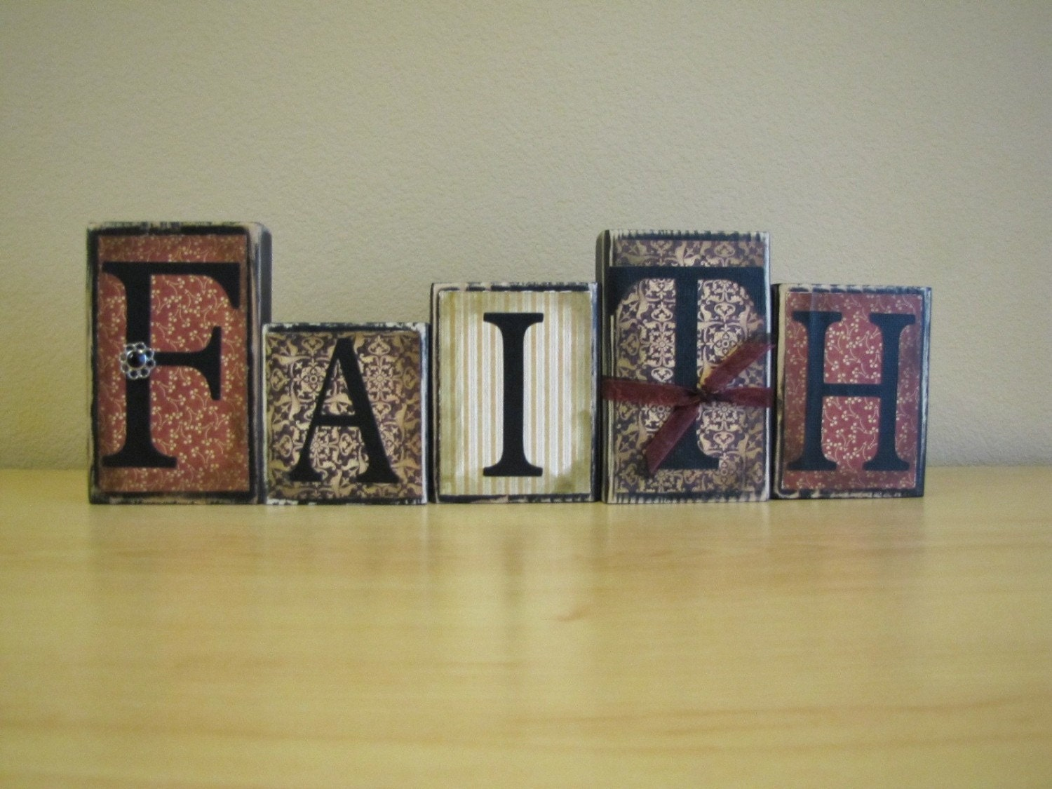 Faith word blocks home decor religious sign for Home by decor