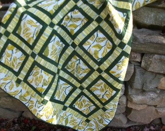 "Geometric modern  lap quilt throw greens and blues  63"" X 71"""