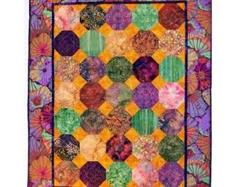 Art quilt wall hanging batiks with Kaffe Fassett border 34 X 44