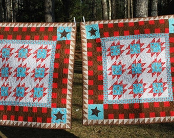 Twin boys matching quilts with barnyard theme 42 X 42