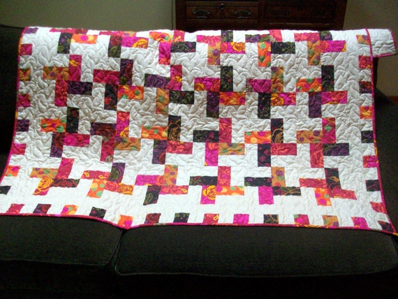 Lap quilt throw 53 X 70 made with Frippery fabrics