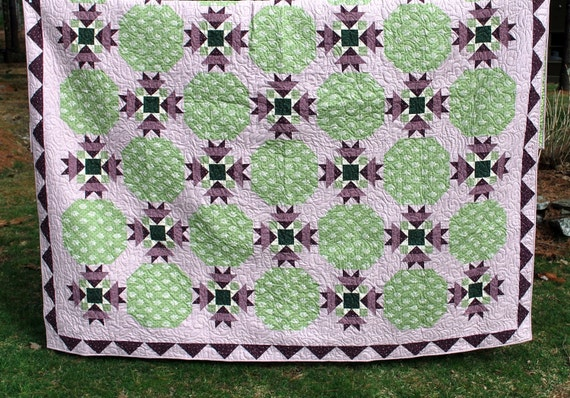 "Queen bed quilt in Green, Maroon  and Pink 95"" X 95"""