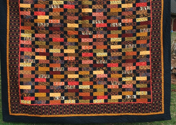 Contemporary Queen Quilt with an Ethnic African style 90 X 97