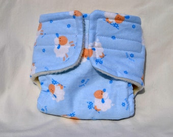 Baby Doll Cloth Diaper - Blue Sheep - Size Large