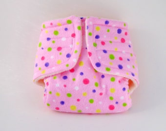 Baby Doll Diaper - Pink Dots - Size Large