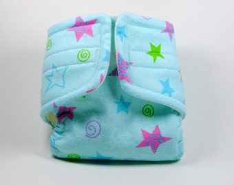 Baby Doll Diaper - Blue Stars and Swirls - Size Small