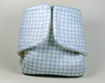 Blue Gingham Doll Diaper - Size Large