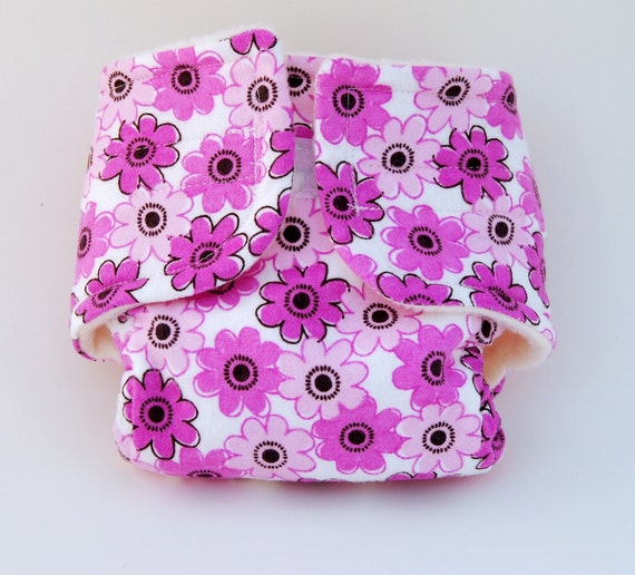 Baby Doll Diaper - Gerber Daisy - Pink - Size Large