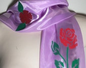 FREE SHIPPING- A Beautiful Silky Satin Rose hand painted and embellished Lilac/Lavender Oblong Scarf, CLEARANCE