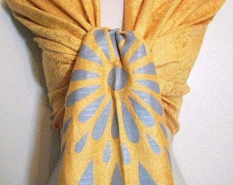 Clearance - Elegant Golden Yellow Paisley Pashmina Scarf, Shawl, Wrap, Gift, Wedding, Favor, Bride, Bridesmaids Gifts, Accessories