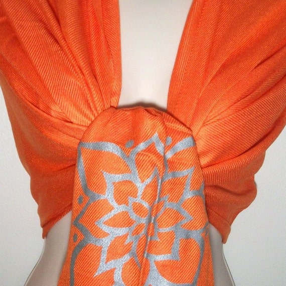Unique Elegant Silkscreen Printed Orange Pashmina Cashmere Scarf, Shawl, gifts-CLEARANCE
