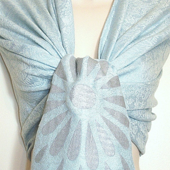 Unique Elegant Silk screen printed Light baby blue Paisley Pashmina Shawl, Wrap, gift, bride, accessory, wedding favor, Bridesmaids Gifts