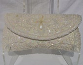 Vintage 1960's Sequin and Seed Pearl Ivory Clutch Purse Wedding Prom