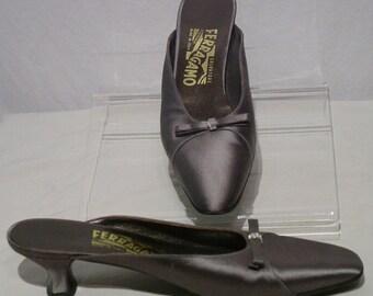 Vintage Gun Metal Grey Silver Ferragamo Shoes with Baguette Cut Rhinestones and Bow Embelishments