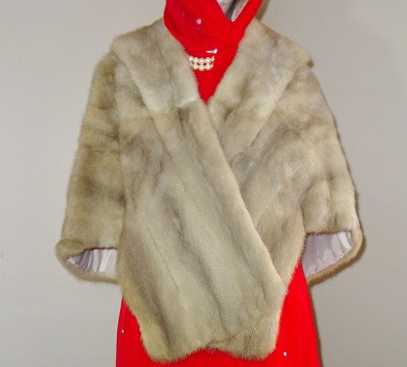 Vintage 1950s Silver Grey Mink Fur Stole with Pockets