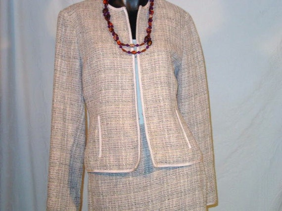 Vintage ANNE KLEIN Chic and Stylish Pink, Black and Cream Suit