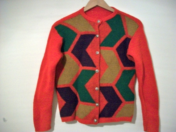 Vintage 60s 70s red geometric shapes knitted cardigan sweater