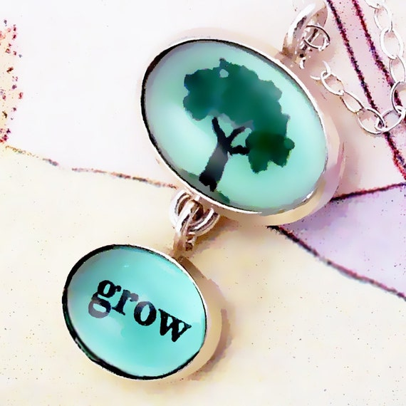 Tree Necklace says Grow with Word and Tree Picture