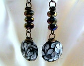 Handpainted Disc and Crystal Earrings  FREE SHIPPING