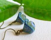 Clearance - Earrings. Blue. Three Petal Flower. Czech Glass. Etsy.