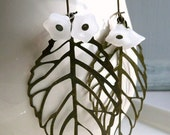 Brass Leaf and White Bell Flower Earrings by Black Cat Crafts on Etsy