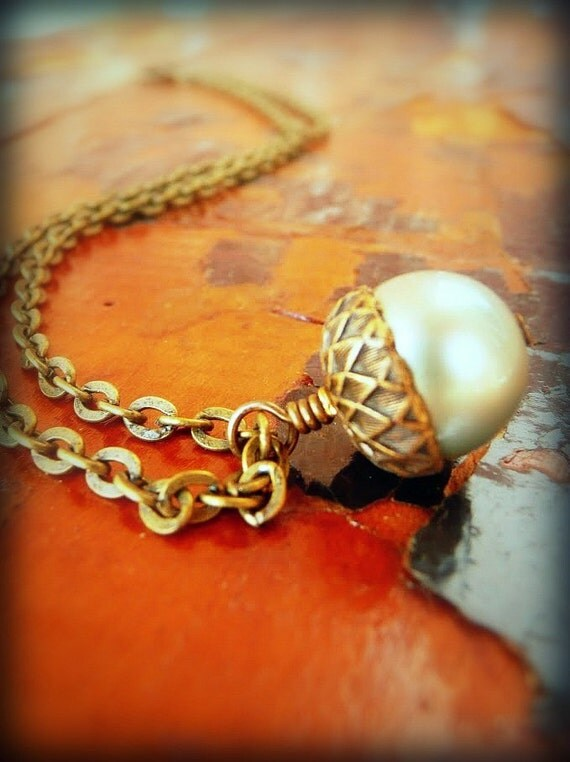 Handmade Necklace - Acorn with Brass Cap Swarovski Pearl - You Pick The Color