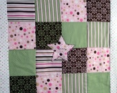 pink and green Chocolate Dot PATCHWORK STROLLER QUILT