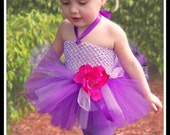 SWEET PEA Crocheted Tutu Dress in Shades of Purple with Matching Flowered Headband